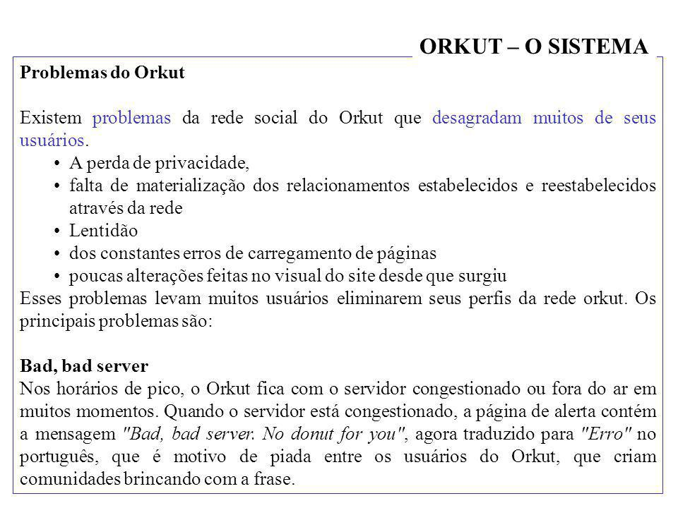 ORKUT – O SISTEMA Problemas do Orkut