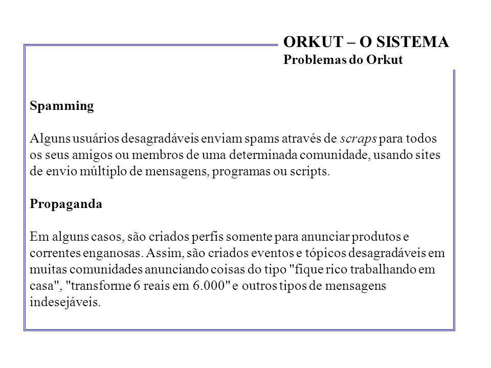 ORKUT – O SISTEMA Problemas do Orkut Spamming