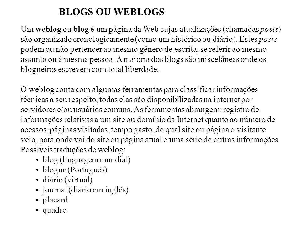 BLOGS OU WEBLOGS