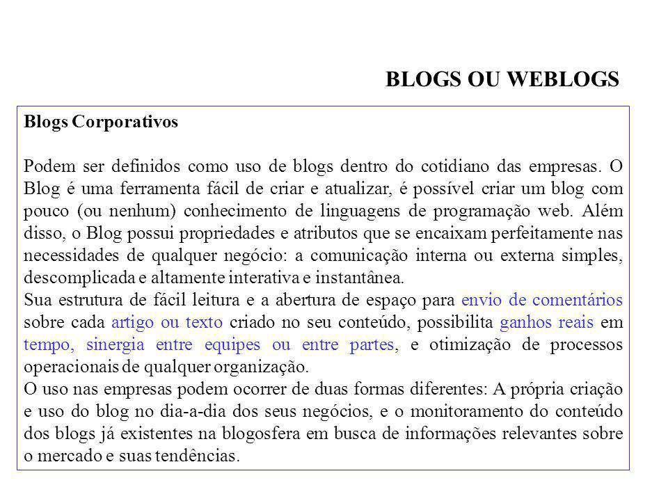 BLOGS OU WEBLOGS Blogs Corporativos