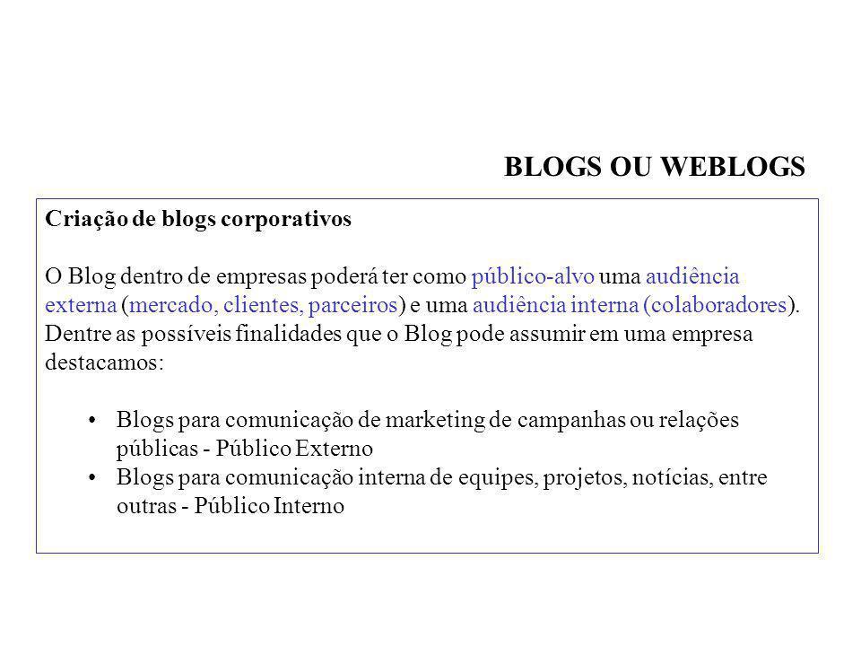 BLOGS OU WEBLOGS Criação de blogs corporativos