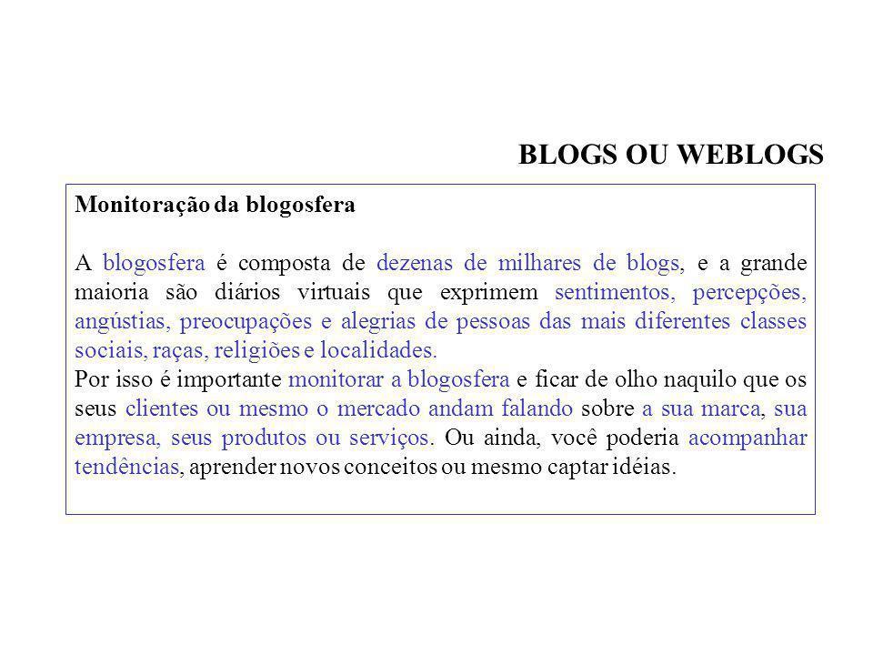 BLOGS OU WEBLOGS Monitoração da blogosfera