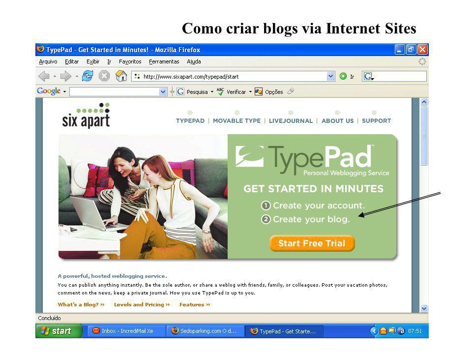 Como criar blogs via Internet Sites