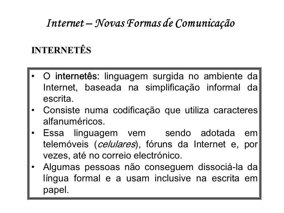 Internet – Novas Formas de Comunicação