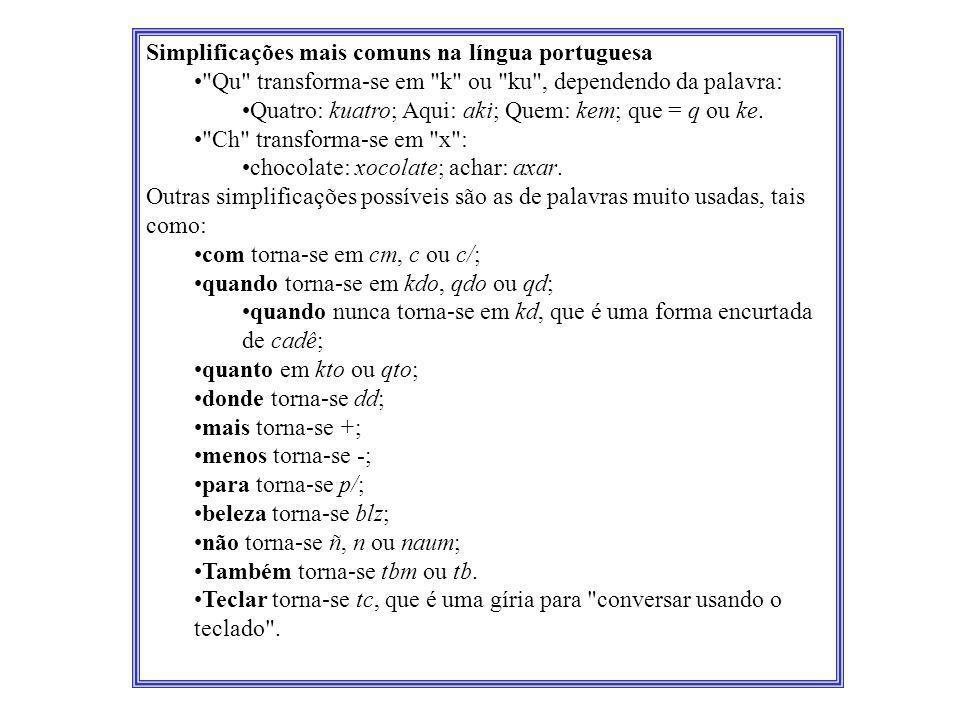 Simplificações mais comuns na língua portuguesa