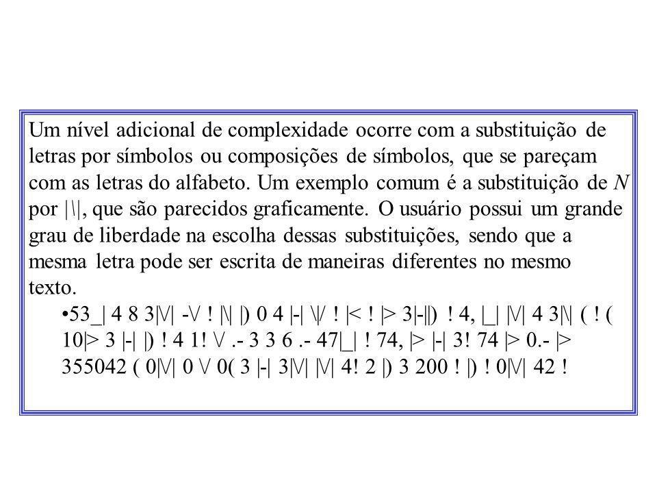 Um nível adicional de complexidade ocorre com a substituição de letras por símbolos ou composições de símbolos, que se pareçam com as letras do alfabeto. Um exemplo comum é a substituição de N por |\|, que são parecidos graficamente. O usuário possui um grande grau de liberdade na escolha dessas substituições, sendo que a mesma letra pode ser escrita de maneiras diferentes no mesmo texto.