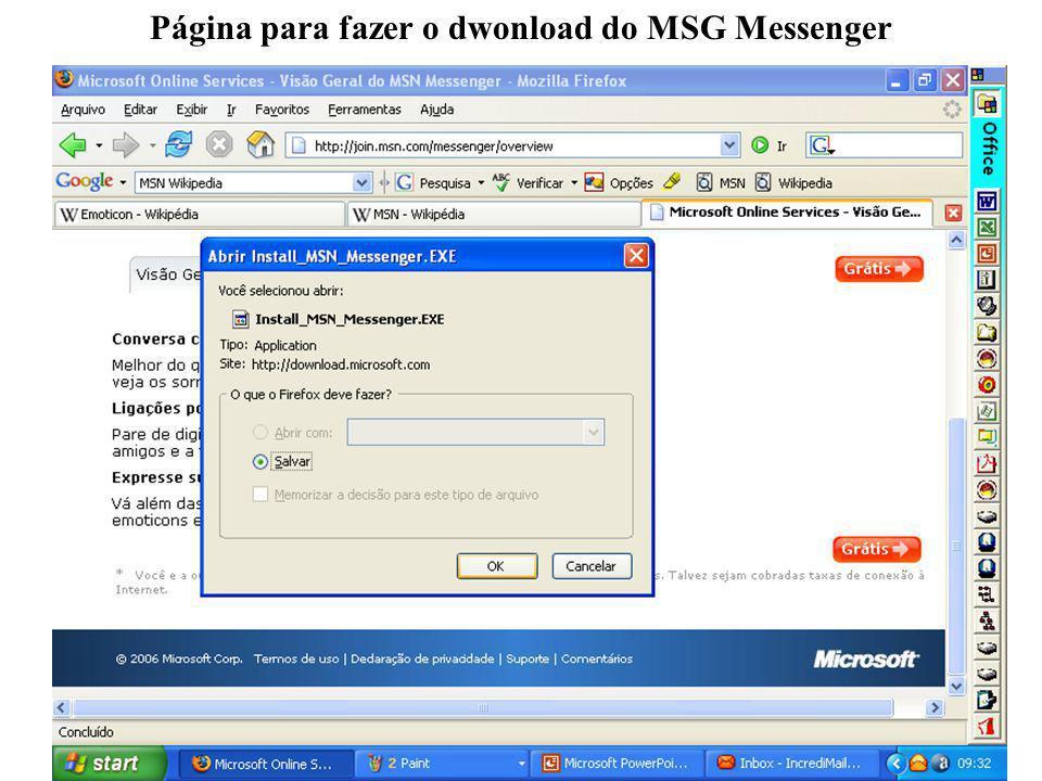 Página para fazer o dwonload do MSG Messenger