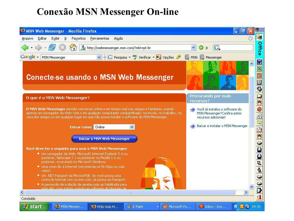 Conexão MSN Messenger On-line