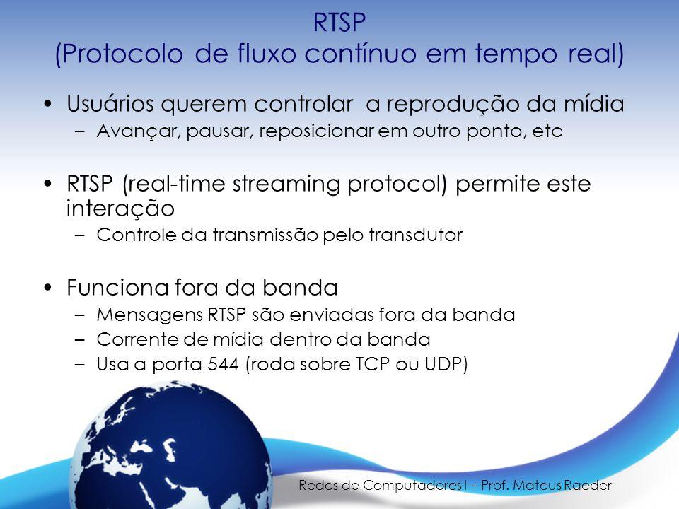 RTSP (Protocolo de fluxo contínuo em tempo real)