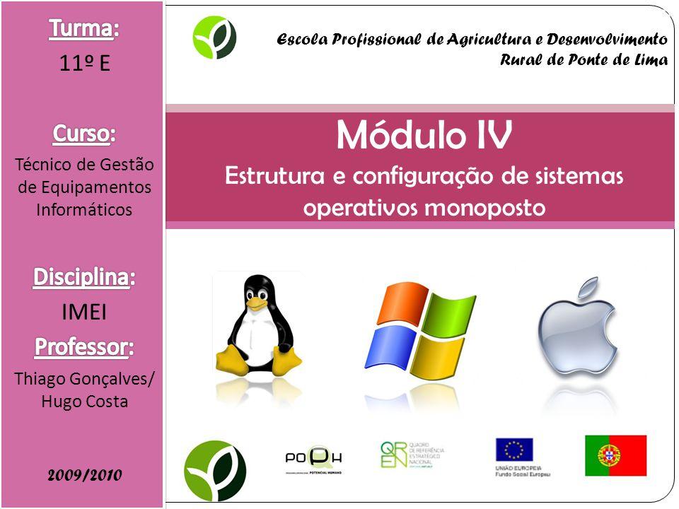 Módulo IV Estrutura e configuração de sistemas operativos monoposto