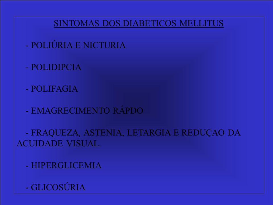 SINTOMAS DOS DIABETICOS MELLITUS