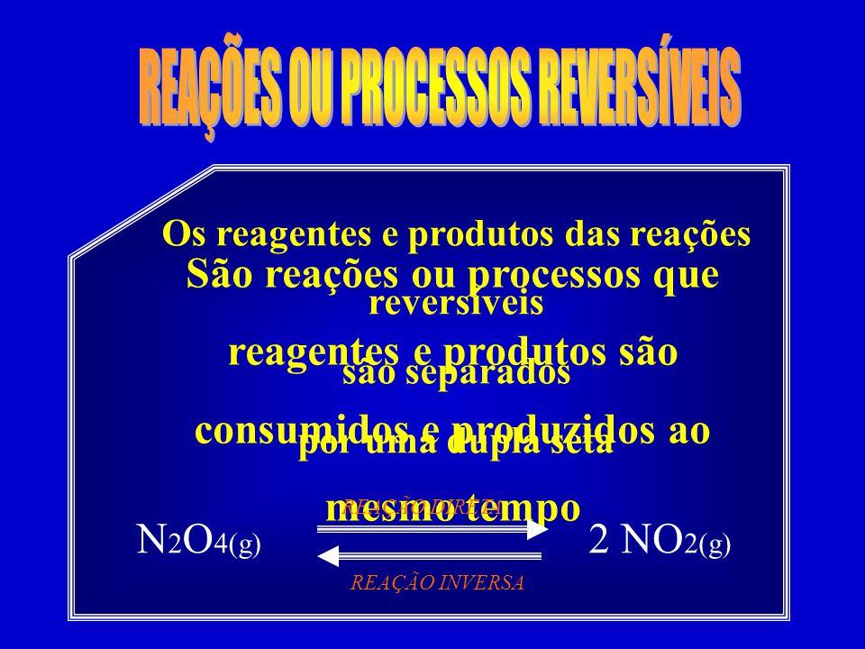 Os reagentes e produtos das reações reversíveis