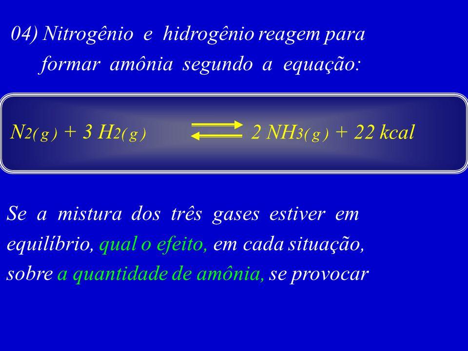 04) Nitrogênio e hidrogênio reagem para