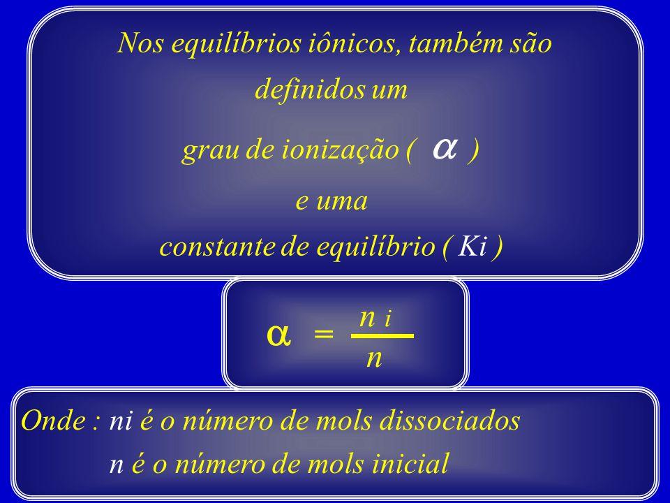 a n i = n Nos equilíbrios iônicos, também são definidos um