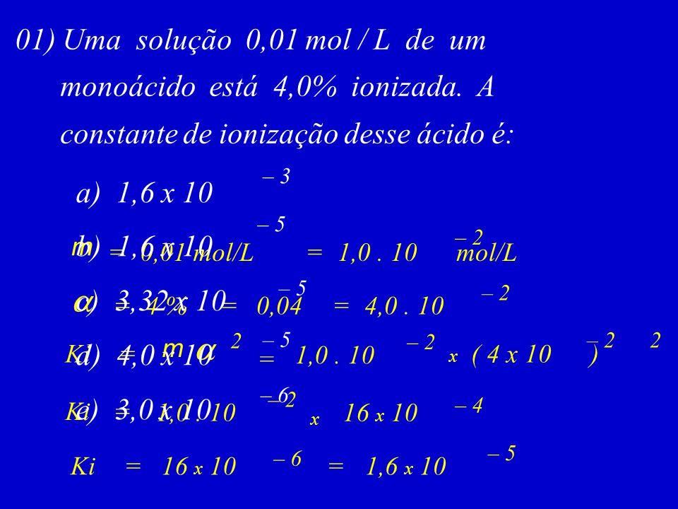 a a 01) Uma solução 0,01 mol / L de um monoácido está 4,0% ionizada. A
