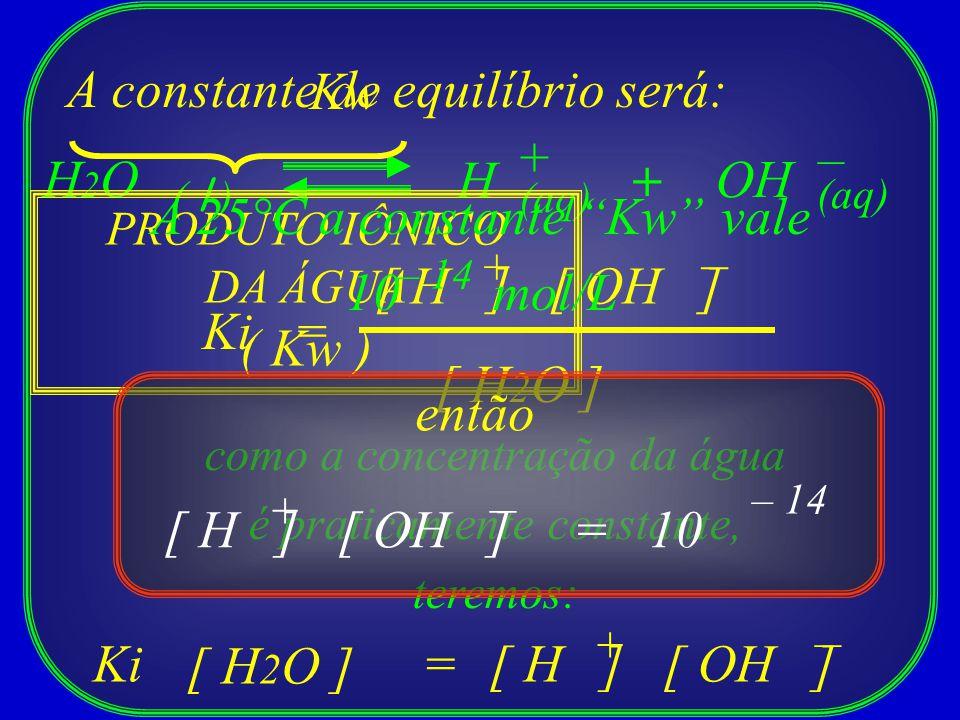 A constante de equilíbrio será: Kw + – H2O H + OH