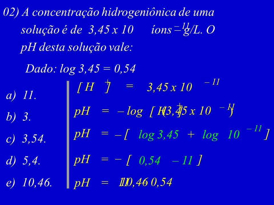 02) A concentração hidrogeniônica de uma