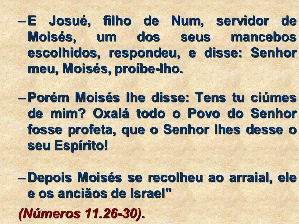 E Josué, filho de Num, servidor de Moisés, um dos seus mancebos escolhidos, respondeu, e disse: Senhor meu, Moisés, proíbe-lho.