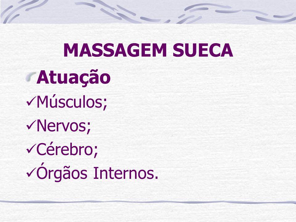 MASSAGEM SUECA Atuação Músculos; Nervos; Cérebro; Órgãos Internos.