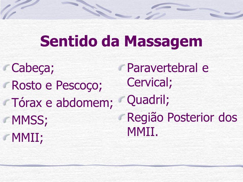 Sentido da Massagem Cabeça; Rosto e Pescoço; Tórax e abdomem; MMSS;