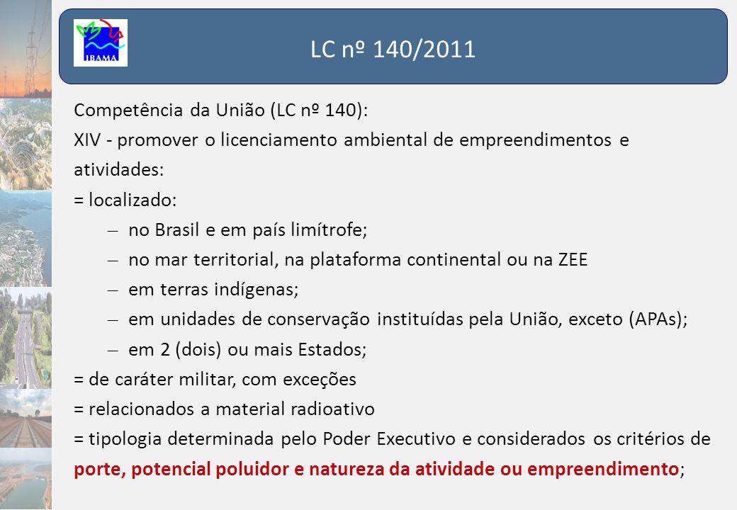 LC nº 140/2011 Competência da União (LC nº 140):