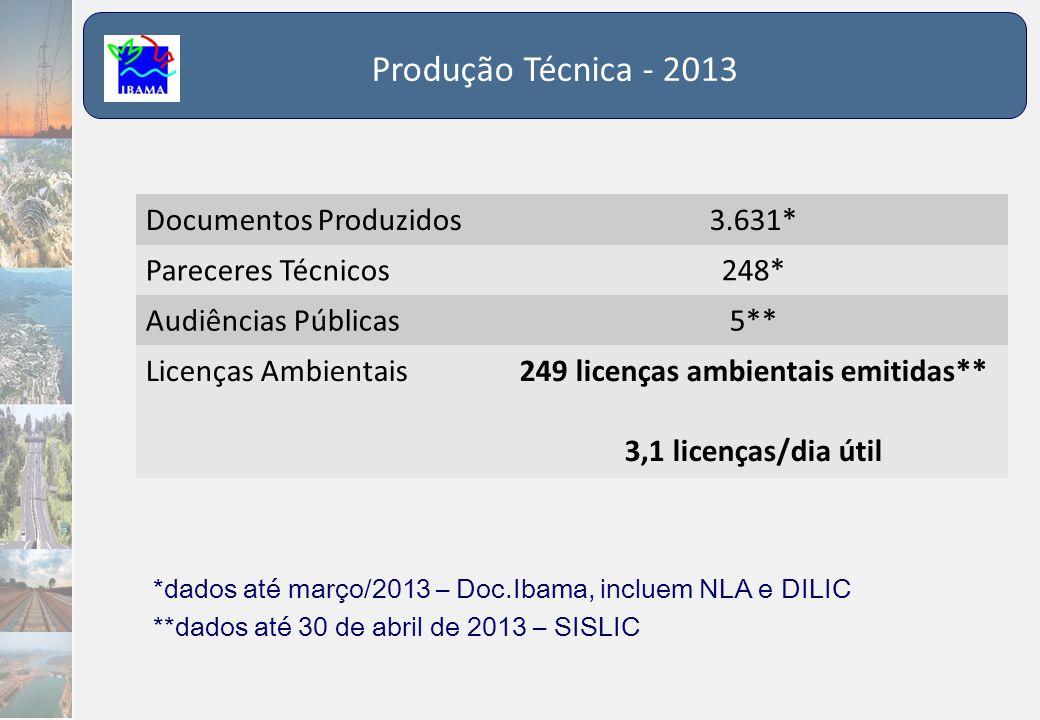 249 licenças ambientais emitidas** 3,1 licenças/dia útil