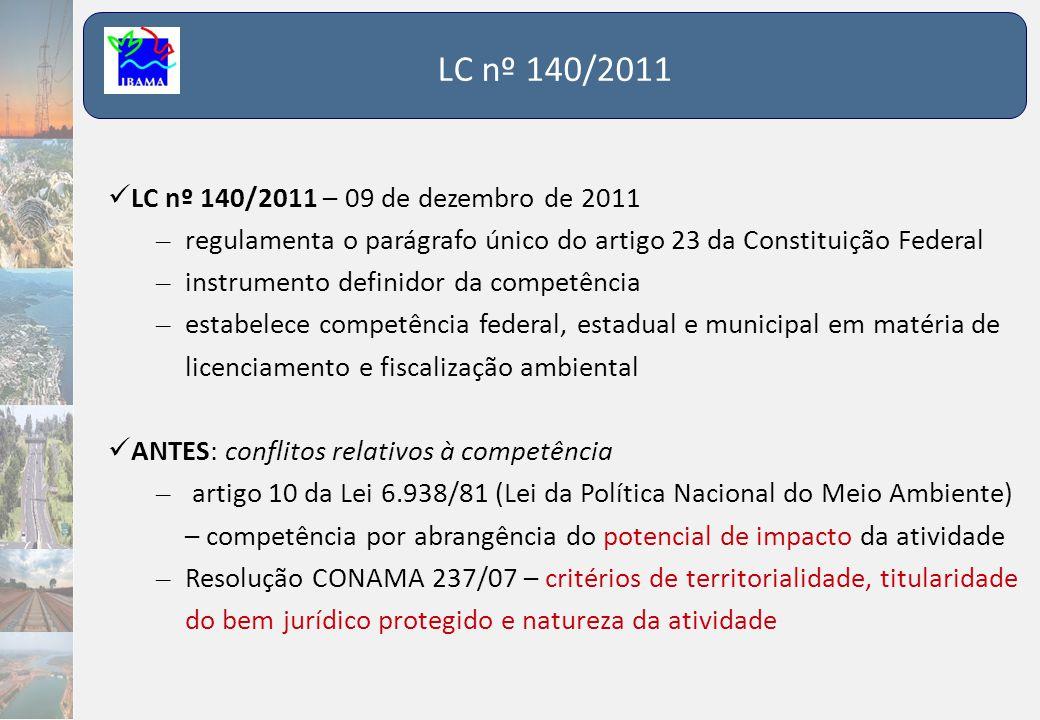 LC nº 140/2011 LC nº 140/2011 – 09 de dezembro de 2011