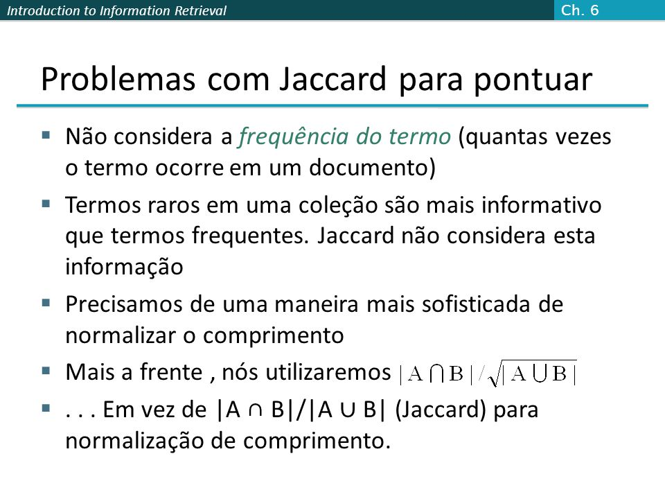 Problemas com Jaccard para pontuar