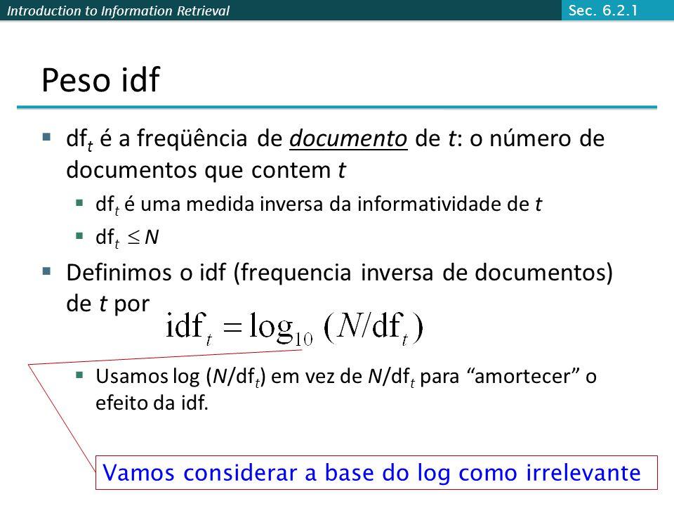 Sec. 6.2.1 Peso idf. dft é a freqüência de documento de t: o número de documentos que contem t. dft é uma medida inversa da informatividade de t.