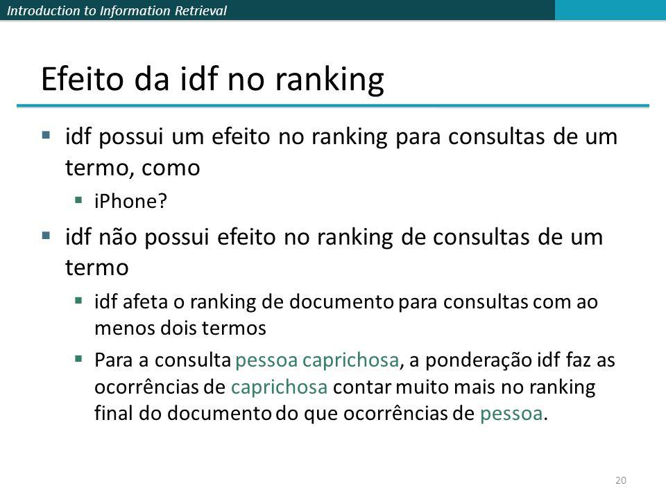 Efeito da idf no ranking