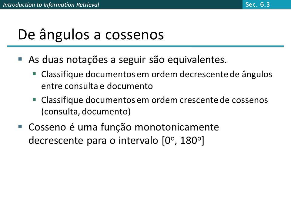 De ângulos a cossenos As duas notações a seguir são equivalentes.