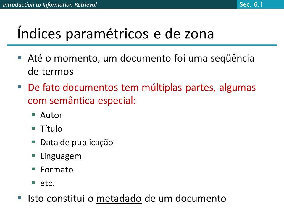 Índices paramétricos e de zona