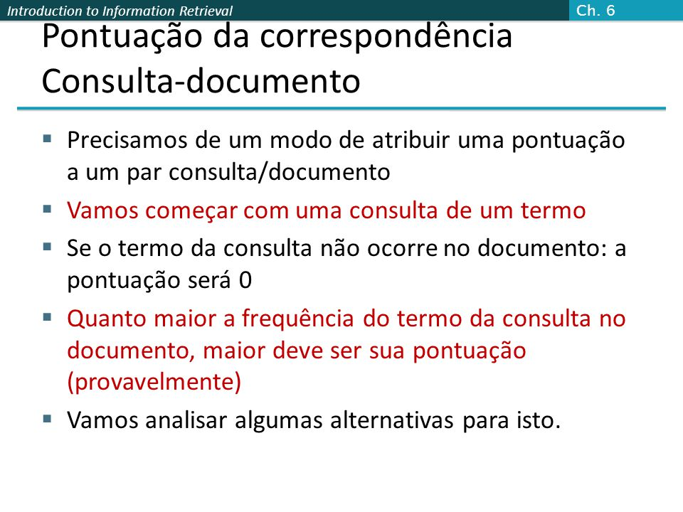 Pontuação da correspondência Consulta-documento