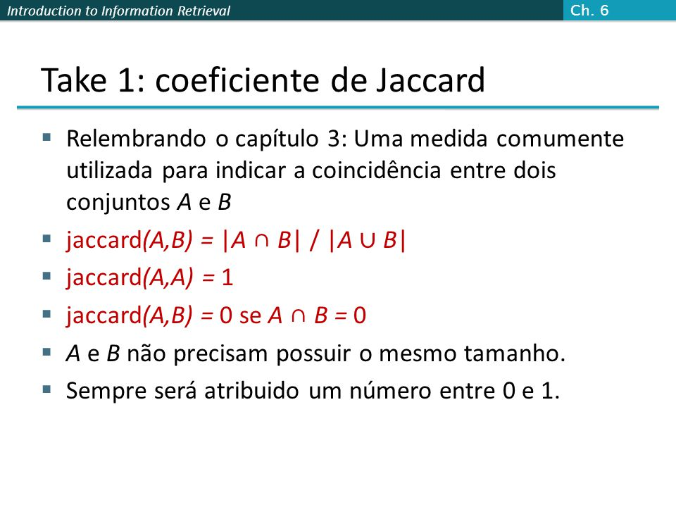 Take 1: coeficiente de Jaccard