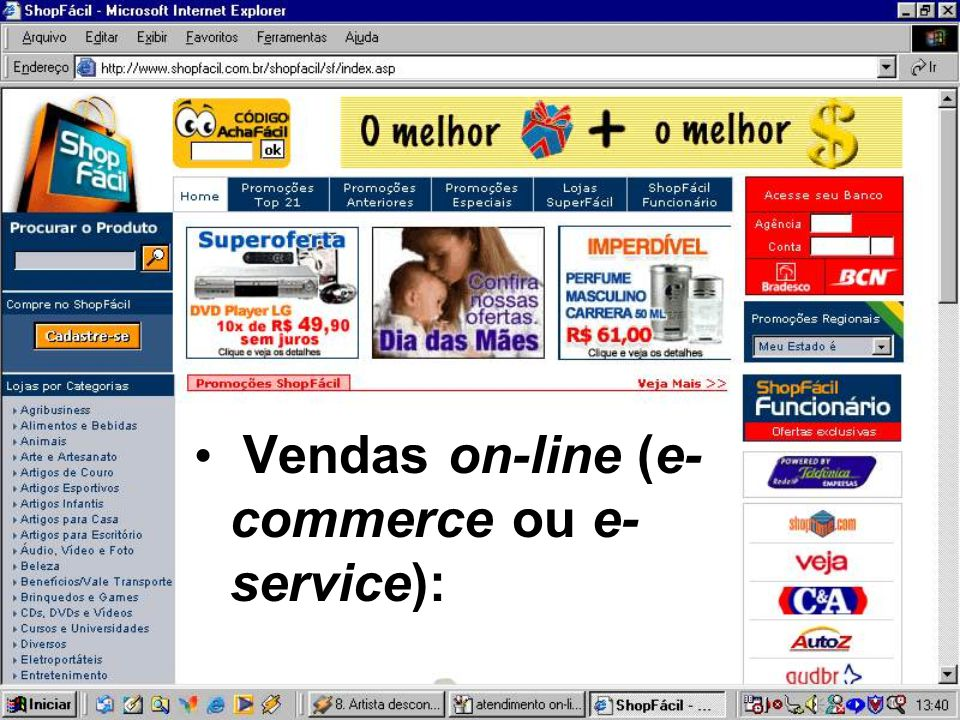 Vendas on-line (e-commerce ou e-service):