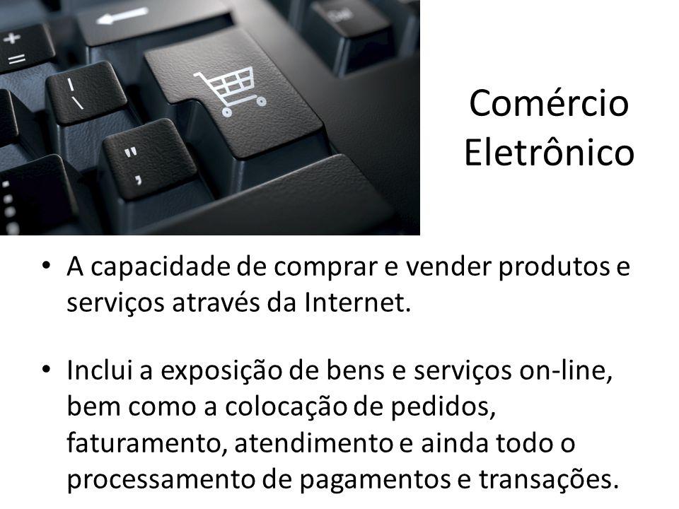 Comércio Eletrônico A capacidade de comprar e vender produtos e serviços através da Internet.