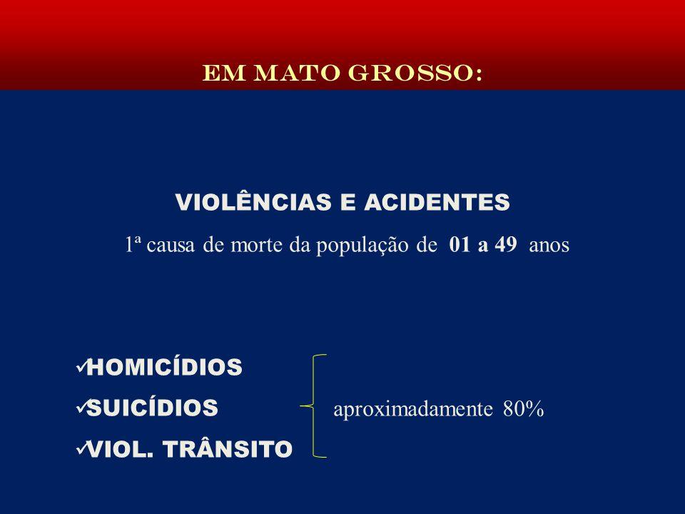 VIOLÊNCIAS E ACIDENTES 1ª causa de morte da população de 01 a 49 anos