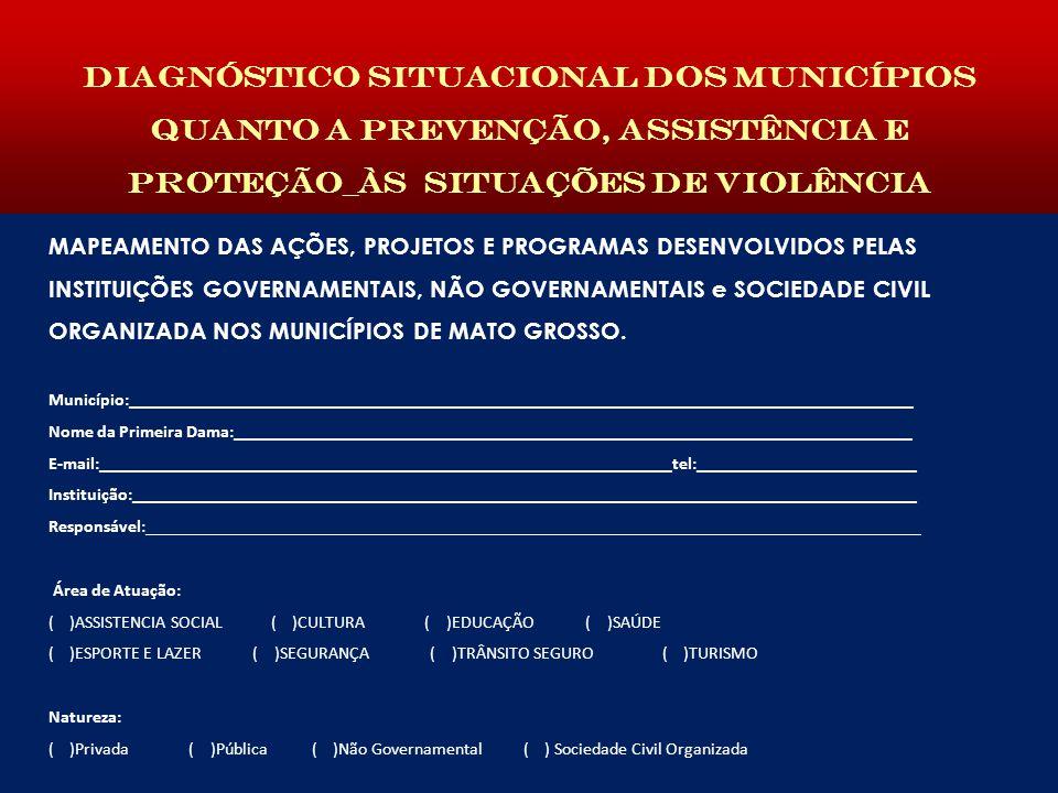 Diagnóstico situacional dos municípios quanto a prevenção, assistência e proteção_às situAÇÕES DE VIOLÊNCIA