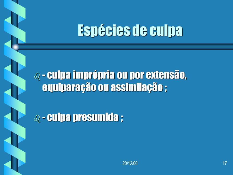 Espécies de culpa - culpa imprópria ou por extensão, equiparação ou assimilação ; - culpa presumida ;