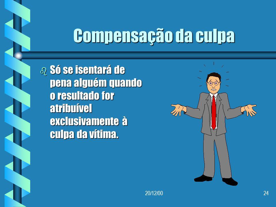 Compensação da culpa Só se isentará de pena alguém quando o resultado for atribuível exclusivamente à culpa da vítima.