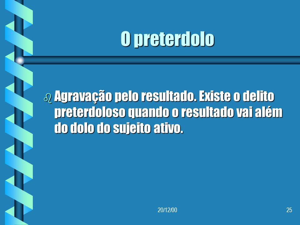O preterdolo Agravação pelo resultado. Existe o delito preterdoloso quando o resultado vai além do dolo do sujeito ativo.