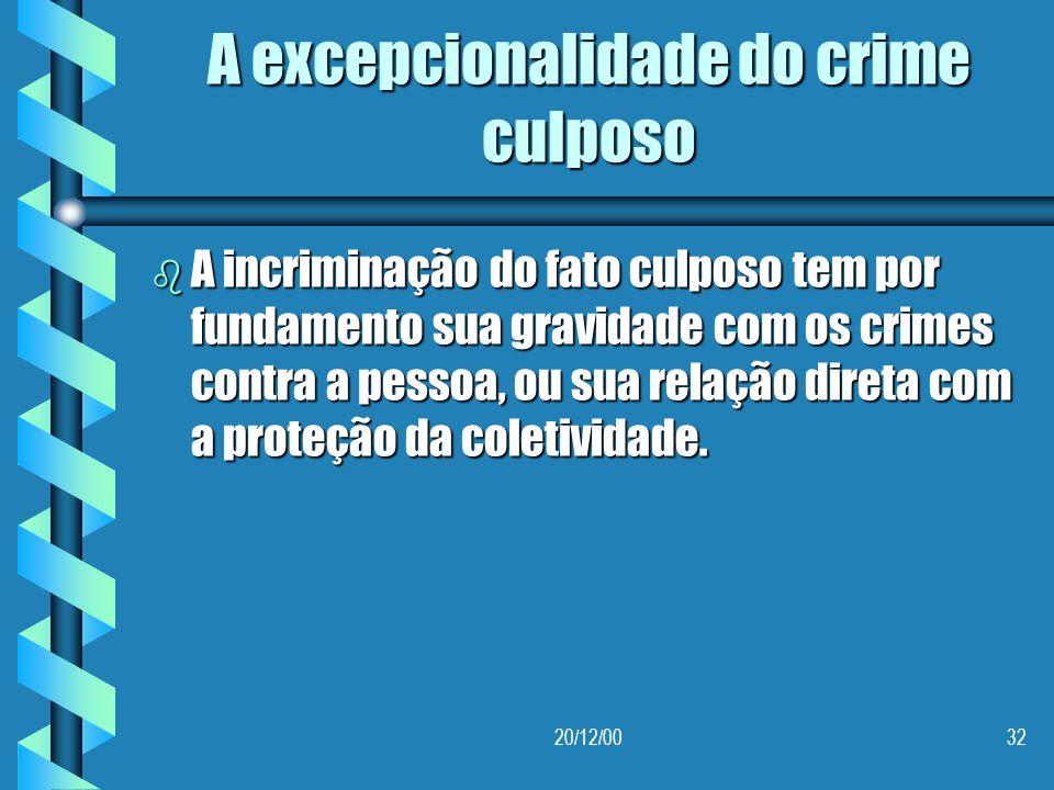A excepcionalidade do crime culposo