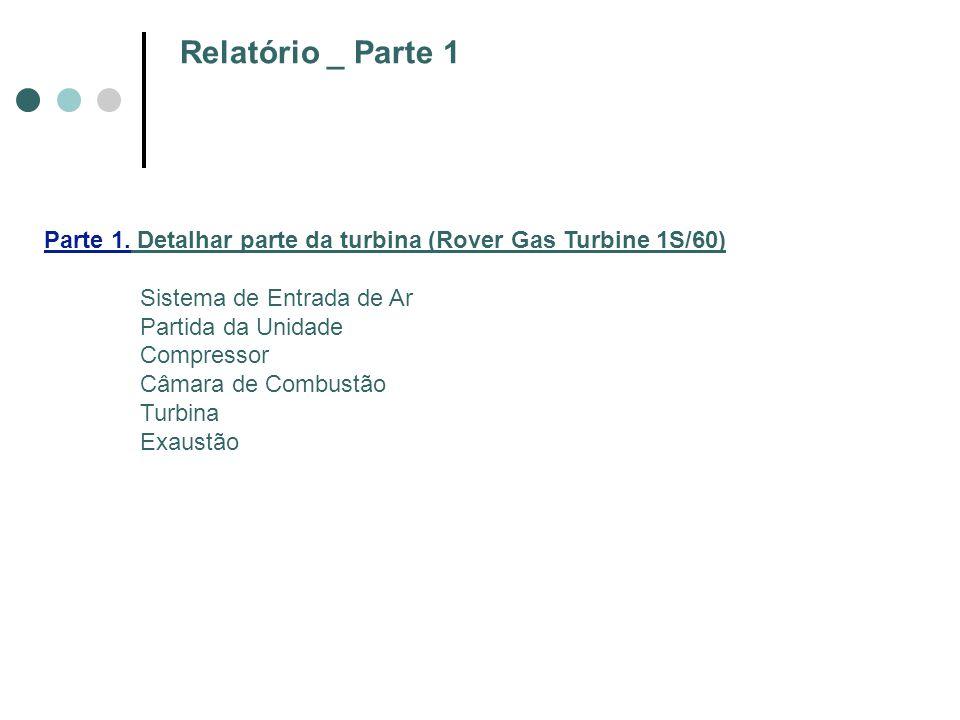 Relatório _ Parte 1 Parte 1. Detalhar parte da turbina (Rover Gas Turbine 1S/60) Sistema de Entrada de Ar.