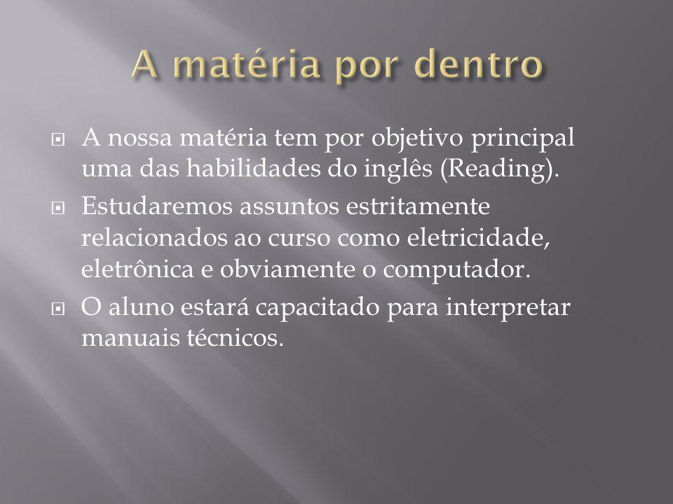A matéria por dentro A nossa matéria tem por objetivo principal uma das habilidades do inglês (Reading).