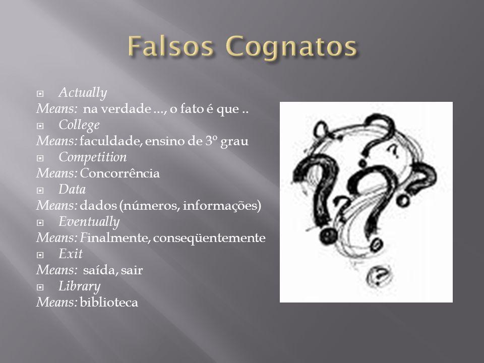 Falsos Cognatos Actually Means: na verdade ..., o fato é que ..