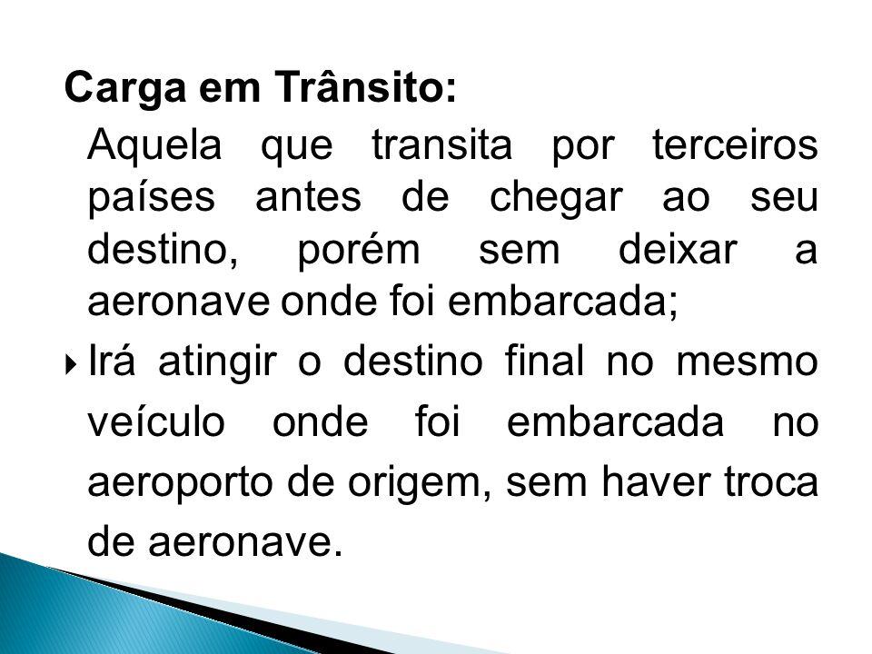 Carga em Trânsito: Aquela que transita por terceiros países antes de chegar ao seu destino, porém sem deixar a aeronave onde foi embarcada;