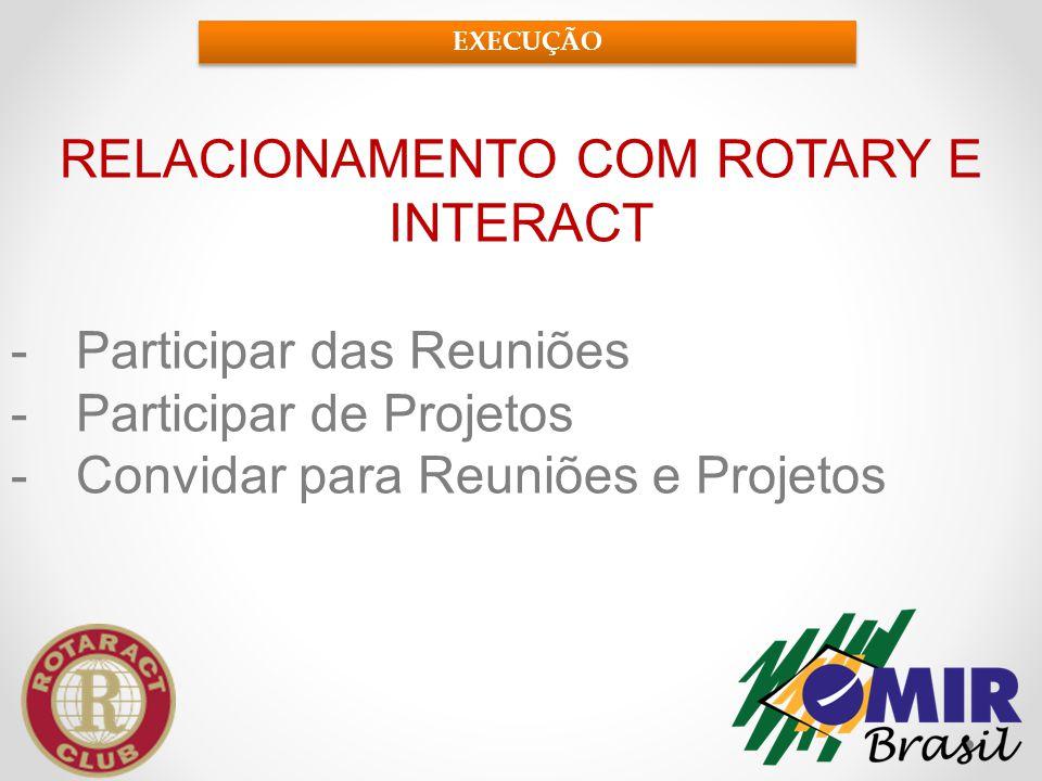 RELACIONAMENTO COM ROTARY E INTERACT