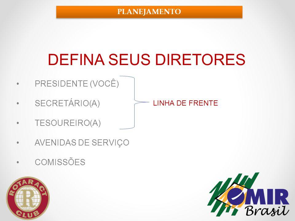 DEFINA SEUS DIRETORES PRESIDENTE (VOCÊ) SECRETÁRIO(A) TESOUREIRO(A)