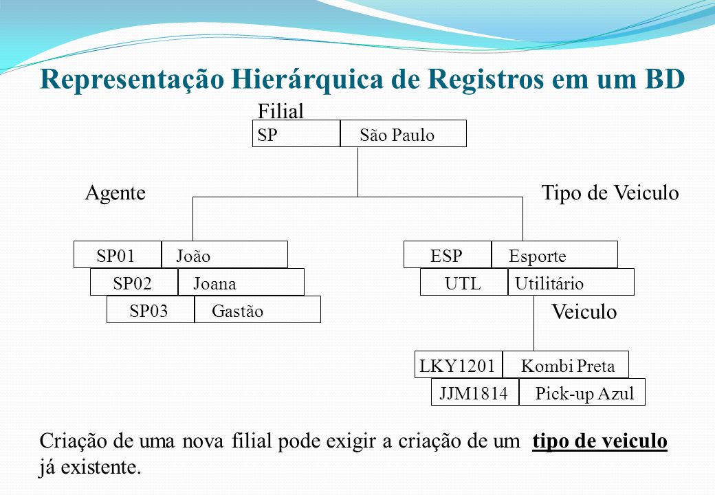 Representação Hierárquica de Registros em um BD