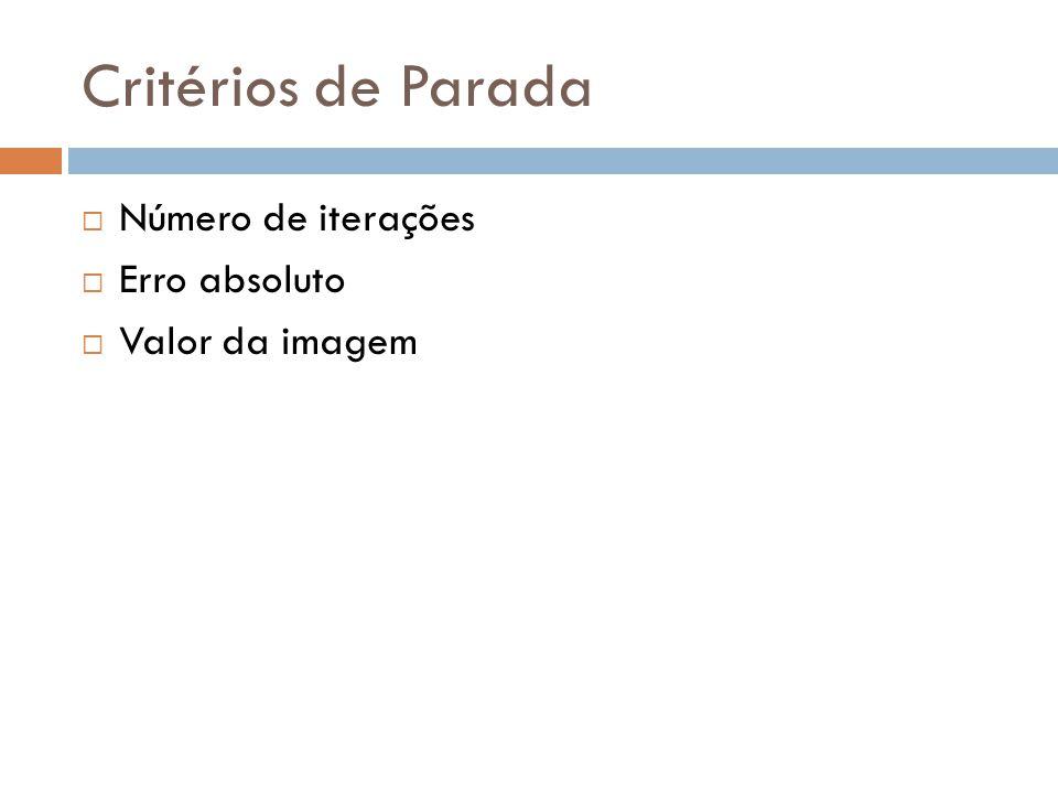 Critérios de Parada Número de iterações Erro absoluto Valor da imagem